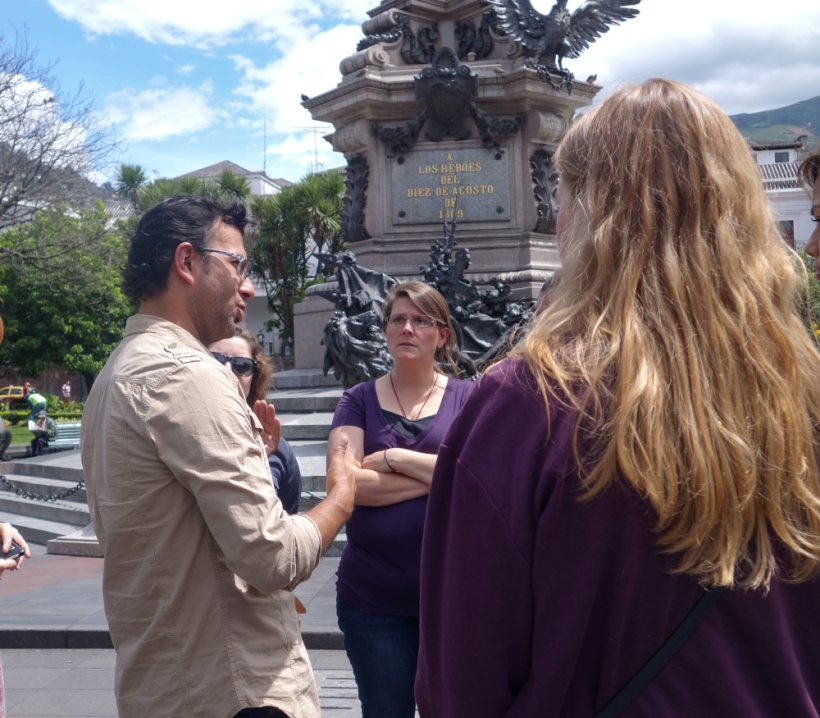 Lousiana State volunteers tour the old town of Quito with a tourguide