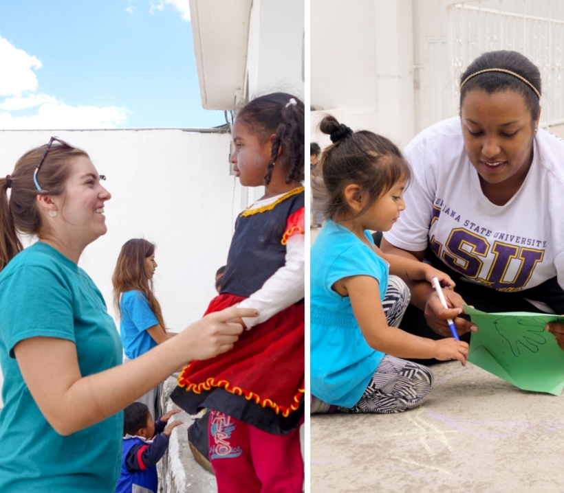 Louisiana State students make friends with children in Ecuador