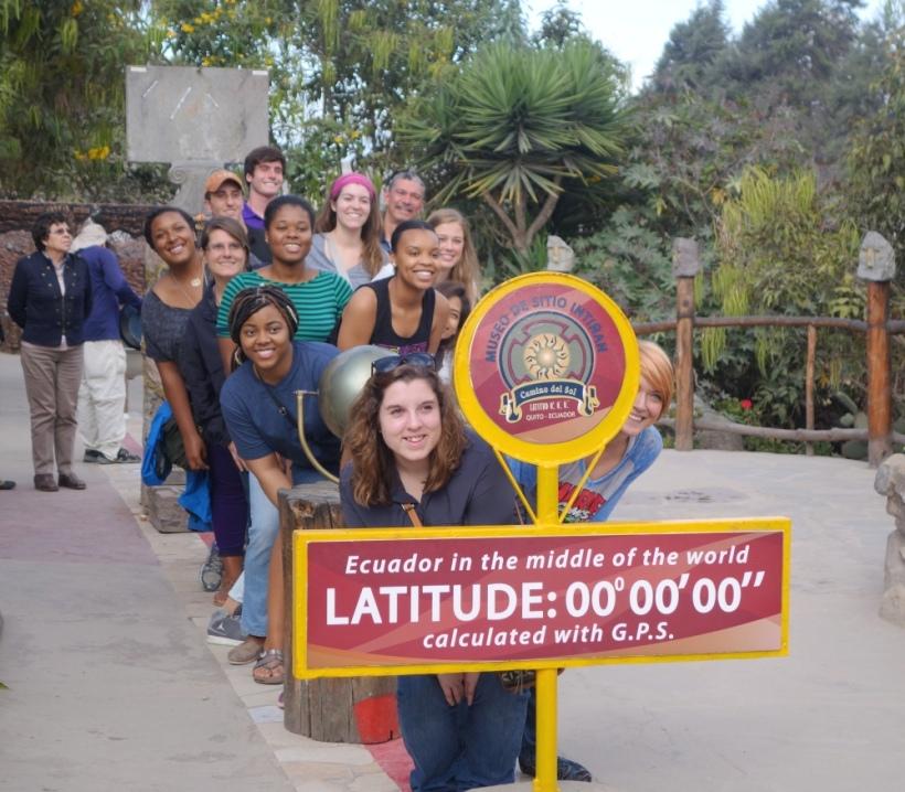 Louisiana State volunteers at the Equator line in Ecuador