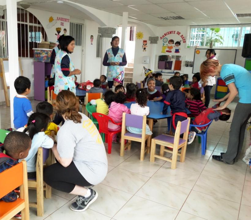 Classroom at a daycare in Ecuador