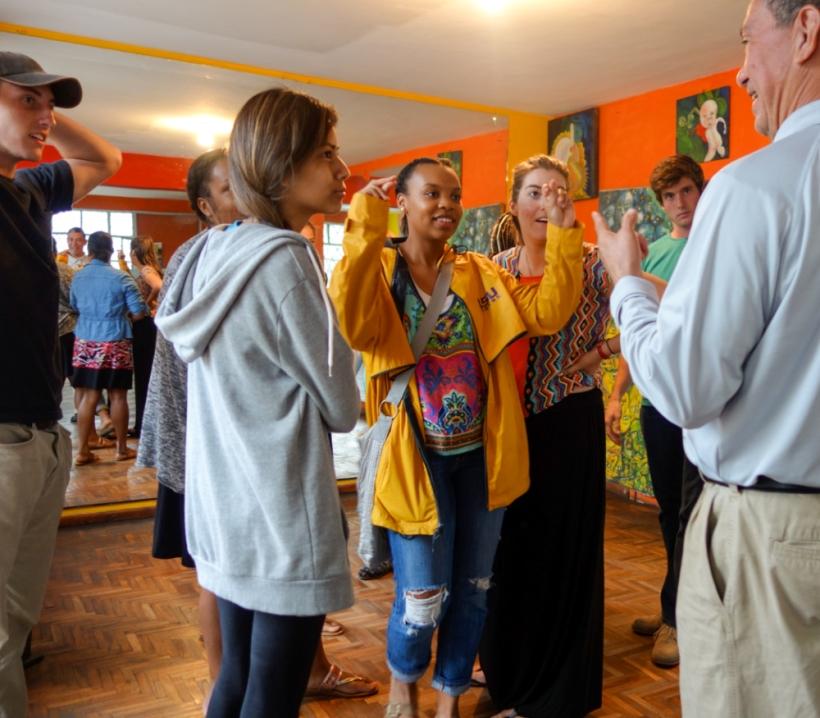 Louisiana State volunteers attend a salsa dance class