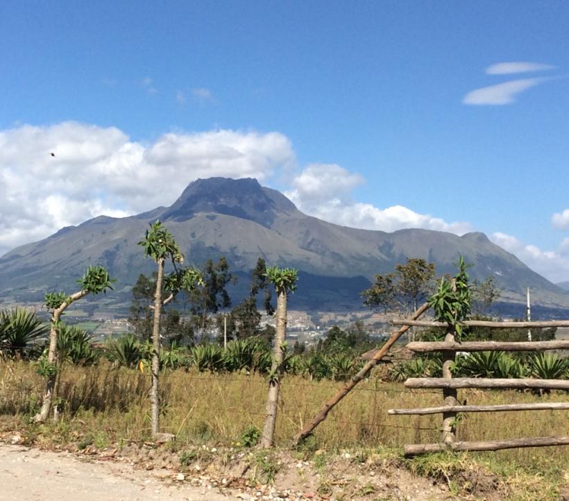 View of Imbabura volcano from Otavalo