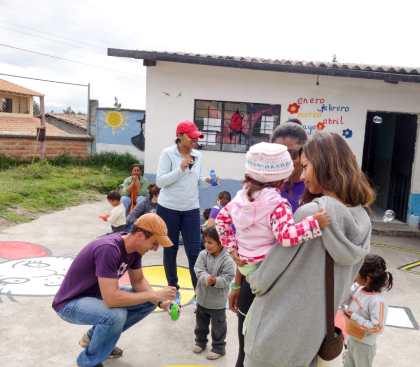 Louisiana State volunteers at the daycare center in Otavalo