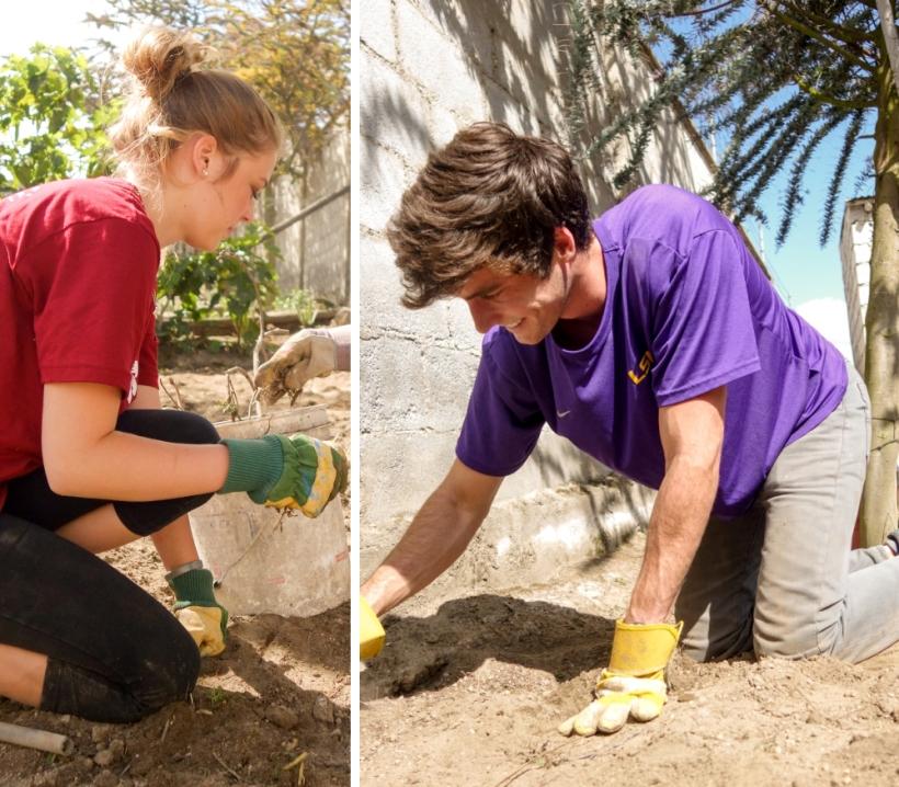 Louisiana State volunteers weed a garden in Ecuador