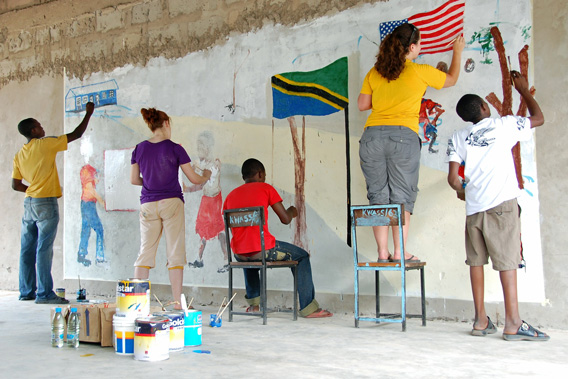 people painting together