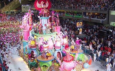 A Samba school parades in the Sambadrome in the 2004 Carnival.