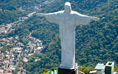 Aerial view of the Statue of Christ the Redeemer