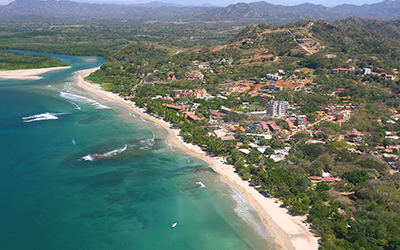 Aerial view of coast line beach in Costa Rica