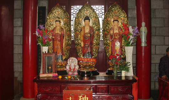 Shrine with three idols, Kaifu Temple.