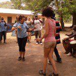 United Planet volunteer dances in Ghana