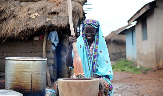 Village woman presses seeds in Ghana