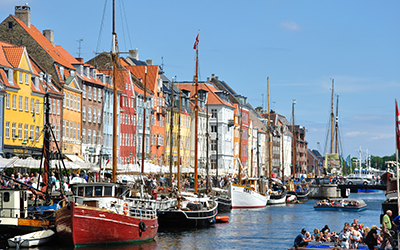 Nice sunny weather and fantastic atmosphere in Nyhavn Denmark