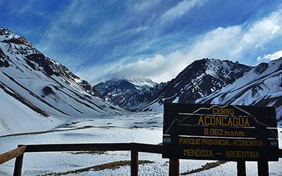 Snowy mountains in Aconcagua Provincial Park