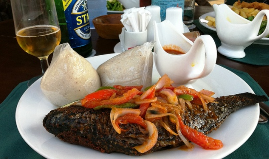 Dish of banku and fish in Ghana