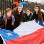 Volunteers with Chilean flag