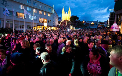 Crowd at night at the AKUREYRI TOWN FESTIVAL