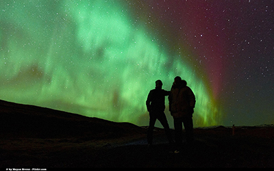 Northern lights in Iceland seen from f-road 326,