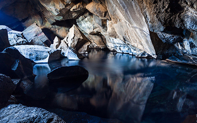 Picture of inside of cave in Iceland