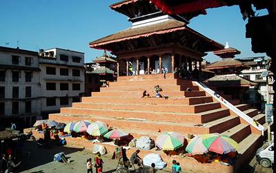 Front of Basantapur in Kathmandu, Nepal