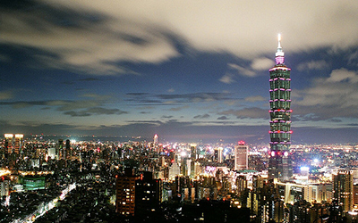 City scene of Taipei in the evening hours.