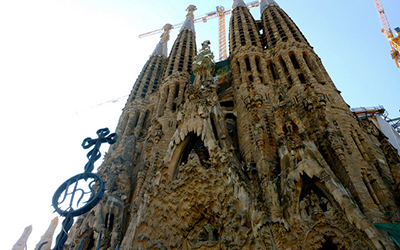 Looking up to the Basilica De La Sagrada Familia. in Spain