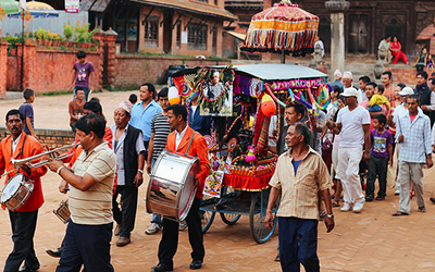 Festival procession in Bhaktapur, Nepal