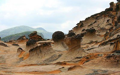 Large rock formations at Yehliu Geo Park, Taiwan