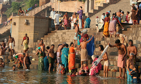 Indians bathe in the Ganges river
