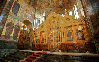 Photo of the interior of the Church of the Savior of Spilled Blood in Russia