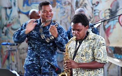 A Mozambique Musician plays saxophone at the Mozambique Musicians Association.